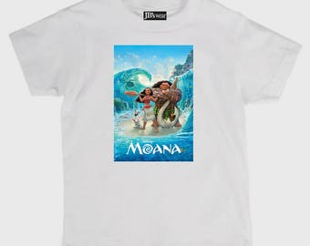 Childs tee shirt new cotton featuring hit movie Moana on kids t shirt