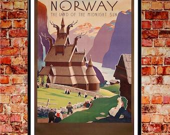 Norway Travel Norway Poster Norway Print Norway Art Norway Wall Art Norwegian Poster Scandinavian Print Scandinavian Art