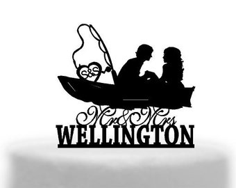 Romantic Boating Bride and Groom Cake topper   Australian made