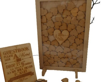 50 hearts Small sized Wedding Guest book Drop Box, RECTANGLE  Personalised, fits 50 hearts