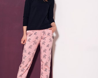 Handmade women's trousers BALLOON DOG. Pink pants. Maternity pants. Cotton clothes. Made in PL. Matching mother and child pants.