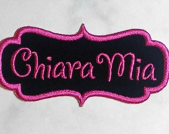 Iron On Name Patch/Dancer Font/ Custom Colors/ Personalized Patch/Backpack Patch/Embroidered Name Patch / Script Name Patch