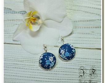 Blue floral dangle earrings floral earrings drop earrings flower earrings applique embroidery earrings gift for her earrings for mother gift