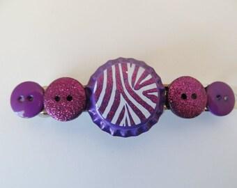 Purple Zebra Bottle Cap Button Barrette, Birthday Gifts, Gifts for her, Gifts for girls,Gifts for teens, Button Barrettes, Hair Accessories