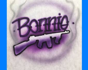 Airbrush T shirt Bonnie and  Clyde, Bonnie and Clyde Hoodie, Bonnie and Clyde Couples Shirts, Bonnie and Clyde Shirt