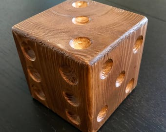 Wooden oversized dice paperweight, table decor, office desk decor, bookend