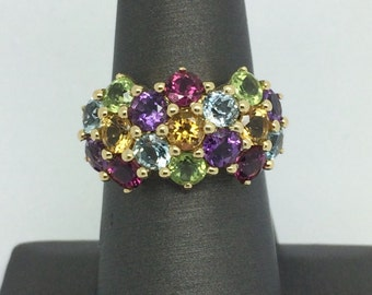 14K Yellow Gold Multi-Color Stones Ring