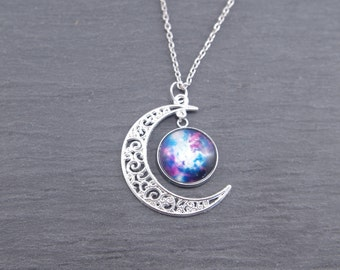 Galaxy Moon Necklace Blue Nebula Necklace Crescent Moon Jewelry Galaxy Pendant Necklace Moon Galaxy Lunar Necklace Planetarium Gift for her