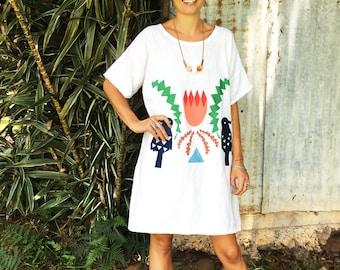 Crowned Banksia 100% linen ladies dress