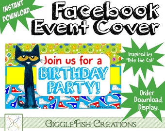 Pete the Cat Facebook Event Cover Image | Digital File | Instant Download