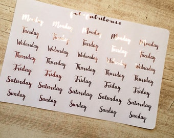 Days Pink Foil Planner Stickers