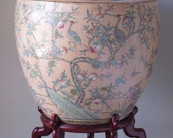 """Large Antique Vintage Chinese Fish Bowl Planter Jardiniere w/ Stand Signed 24"""""""