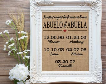 Nuestras mayores bendiciones nos llaman Abuelo and Abuela, Our greatest blessings call us Abuelo and Abuela, Abuelo and Abuela Gift