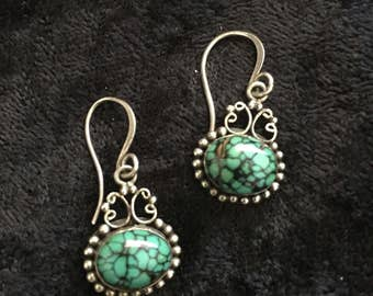 TRUE TURQUOISE - Vintage Native American Spider Web Turquoise Earrings
