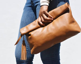 NAYA - Tan leather roll over clutch, leather foldover clutch, tan clutch, genuine leather clutch, leather clutch tan, leather purse, clutch