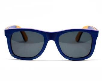 Skateboard Sunglasses Skate Wood Sunglasses Blue Wayfarer Accessories Eco Friendly Charity Vibrant Wood Mens Sunglasses Womens Sunglasses
