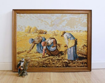 Embroidered vintage painting by Millet ' working on the land '. Retro record