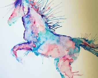 Pink & Purple Horse Watercolour Print