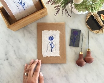 Pack of 3 Greeting Cards, Handmade Card, Handprinted, Lino Print, Linocut, Floral, FLOWER GREETING CARD