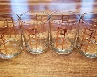 GUMP'S Golden Gate Bridge Vintage Barware San Francisco Glasssware