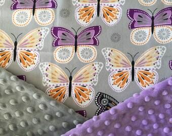 Personalized Minky Baby Blanket, Lavender Purple Butterfly Minky Baby Blanket