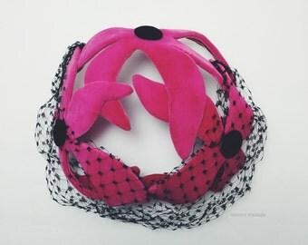 Bright Pink {Gilbert Orcel} Velvet Flowered Fascinator with Black Veil, c1950s