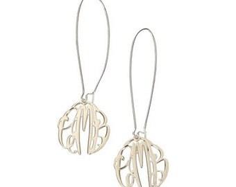 Sterling Silver Monogram Dangle Earrings - Elizabeth Collection