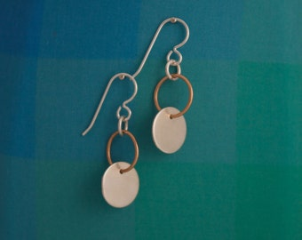 Simple Silver Disc Earrings with Bronze Ring