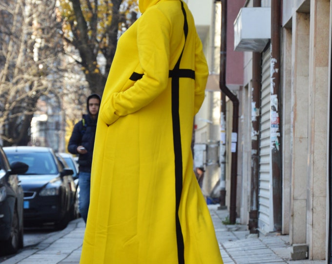 Extravagant Oversized Hooded Dress, Maxi Long Dress, Yellow Kaftan With Cross, Casual Dress Long Sleeve By SSDfashion