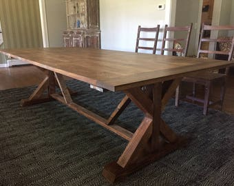 Custom Made Early American X Base Trestle Farm Table - Up To 9' Length!