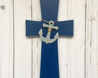 Nautical Theme Nursery, Nautical Cross, Nautical Baptism Gift,  Navy Anchor Wall Cross, Nautical Decorative Cross, Nautical Wall Cross