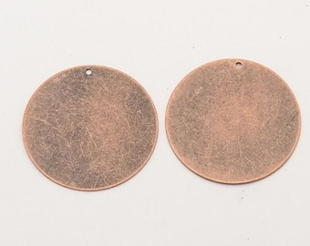Antiqued Copper Metal Stamping Blanks Large Circle Blanks 34mm 10 pieces Blank Pendants