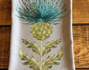 Handmade Embroidered Thistle Cushion Cover - Blue