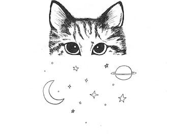 Cosmic Cat - Art Print - Illustration - Giclee - Galaxy - Moon and Stars