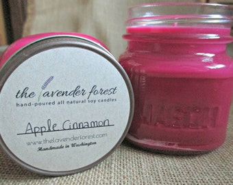 apple cinnamon // hand-poured 8oz mason jar soy candle // natural soy wax // highly scented // rustic