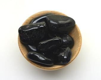 Black tourmaline small tumbled stone one piece, small schorl crystal tumblestone, pocket stone