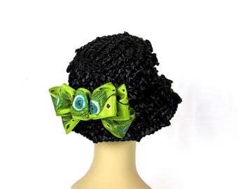 Black Hat Straw Bucket 1960s