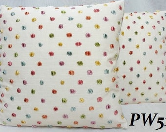 Kravet-Dew Drop Confetti-Decorative Pillow Cover with Velvet Polka Dot on Ivory Linen / All Size Available