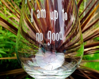 Harry Potter I solemnly swear I am up to no good engraved wine glass