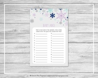 Winter Baby Shower Baby ABCs Game - Printable Baby Shower Baby ABCs Game - Baby It's Cold Outside Baby Shower - Baby ABCs Game - SP143