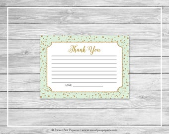 Mint and Gold Baby Shower Thank You Cards - Printable Baby Shower Thank You Cards - Mint and Gold Baby Shower - Thank You Cards - SP147