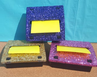 Glitter Square Pop-Up Note Dispenser, (Weighted Plastic), (Your Choice of Color), Note Dispenser, Pop Up Note Dispenser