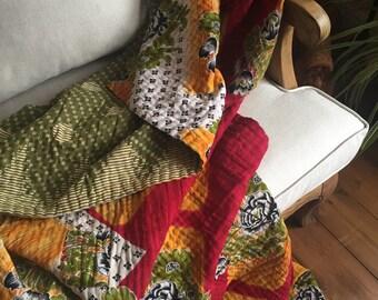 Vintage Kantha Quilt, Handmade Kantha Throw, Reversible Quilt, Boho Quilt