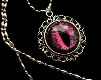 Victorian Gothic UV Reactive GLOW BLACKLIGHT - Large Dream Pendant - Dragon Evil Eye -Pink Neon Black Gothic Color Shift - dark macabre
