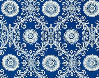 Waverly reflective indigo curtain valance