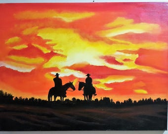 "Original Oil Painting on Canvas- ""Cowboys"""
