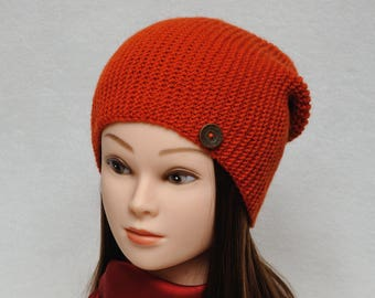 Hand Knit Slouch Beanie Slouchy Beanie Womens Hats Orange Knit Hat Slouchy Hat Winter Hat Girlfriend gift|for|her Slouch hat Womens Gift