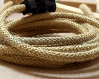 From 3ft Jute Textile cable Cloth cord Fabric Covered Wire 2x0.5 20/2 AWG Cloth wire Cloth cord Color cord Electrical cord Fabric cable