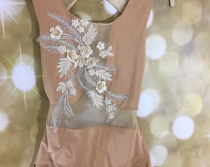 Lyrical dance costume, quick ship costume, plain costume, plain leotard with mesh and milliskin shiny or matte spandex SA