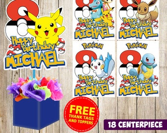 18 Pokemon centerpieces, Pokemon  printable centerpieces,Pokemon  party supplies,Pokemon  birthday, Favors, decorations
